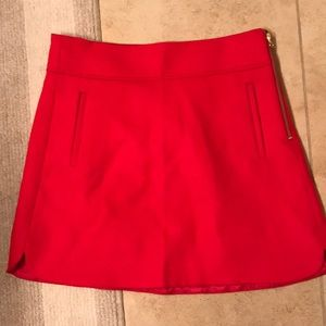 J. Crew Red Wool Skirt